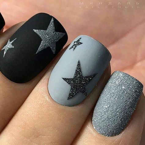 Stunning Textured Nail Designs to Try glitter star nail design