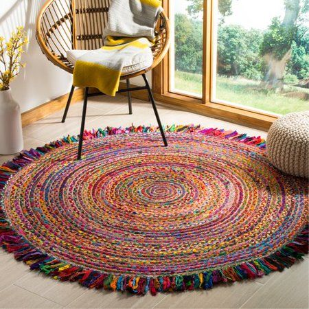 Bungalow Rose Abhay Boho Hand Woven Cotton Round Red Blue Area Rug Walmart Com Braided Area Rugs Jute Area Rugs Rugs On Carpet