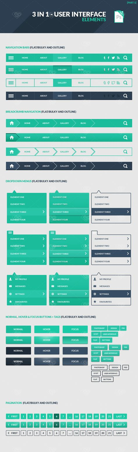 3 in 1 User Interface Elements Kit - - Fribly