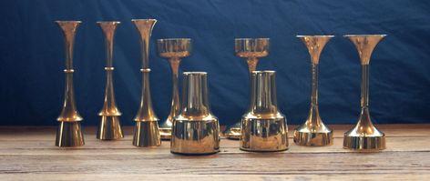 Annons Pa Tradera 9 Eleganta Retro Vintage Ljusstakar I Massing 1960 70 Talet Cohr