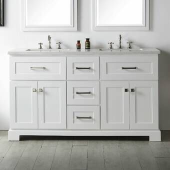 Monadnock 60 Double Bathroom Vanity Set With Mirror White