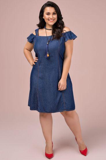 8a2861b2c934 Vestido Jeans Plus Size Mabe em 2019 | Ropa | Vestidos para senhoras ...
