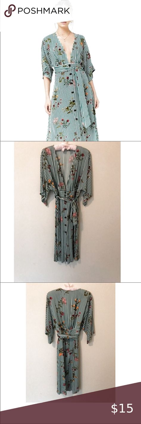 FOREVER 21 | Green/White Floral Kimono Midi Dress Floral and green striped kimono style dress.  Deep V neckline.  Tie waist and tortoise shell buttons.  Never worn, no size tag. Size L.  Cute with both sandals and heels!   #kimono #boho #mididress #kimonodress #bohodress #stripeddress #springdress #summerdress  MVC Forever 21 Dresses Midi