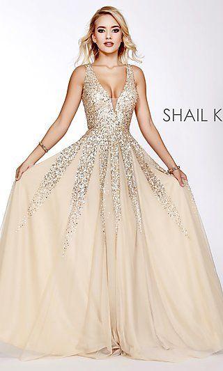 Long Shail K A-Line V-Neck Prom Dress in