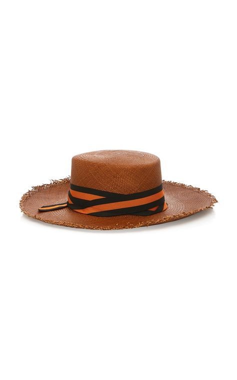9c0e61598da Frayed Woven Straw Boater Hat With Striped Band