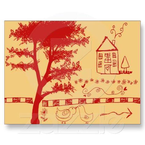 Farm Doodle House Postcard