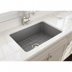 Bocchi Sotto 27 In Undermount Fireclay Single Bowl Kitchen Sink With Grid And Drain Kit Undermount Kitchen Sinks Kitchen Sink Remodel Single Bowl Kitchen Sink