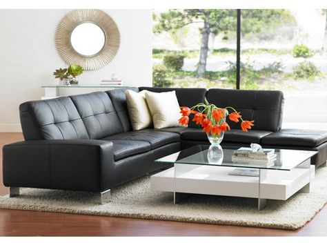 Superb The Francesca Leather Sectional At Dania My Style Black Gmtry Best Dining Table And Chair Ideas Images Gmtryco