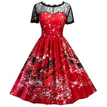 Elecenty Kleid Damen Spitze Partykleid Kurzarm Weihnachten Drucken Lange Frauen Kleider Weihnachtskleid Christma Rotes Kleid Kurz Weihnachtskleid Coole Kleider