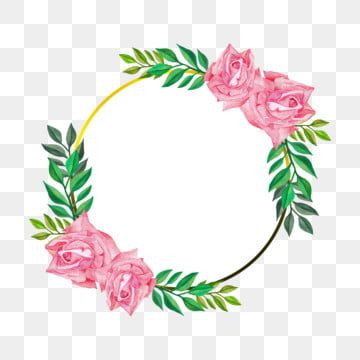 Simple Floral Frame With Pink Rose In Watercolor Illustration Png And Psd Watercolor Illustration Rose Flower Png Flower Frame