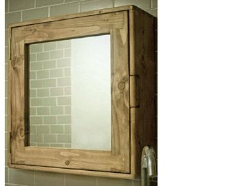 Bathroom Wall Cabinet Medicine Mirror Cabinet In Natural Light Wood Small Door Mirror 43 5h X 38 5w X14d Cm Modern Rustic Custom Made Uk Rustic Wooden Furniture Wooden Bathroom Mirror Mirror Cabinets