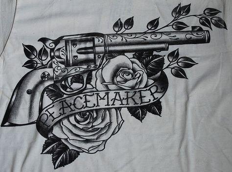 Peacemaker TATTOO SHIRT Gun Colt Revolver Black Market Western Country Style | eBay