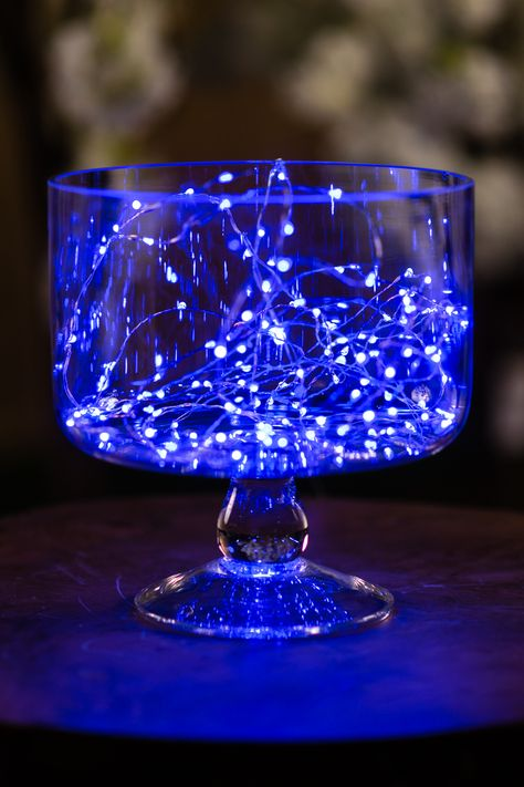 This beautiful bright string of lights features BLUE 120 LEDs on a 6 metre bendable wire. Royal Blue Centerpieces, Royal Blue Wedding Decorations, Sweet 16 Decorations, Lighted Centerpieces, Quince Decorations, Quinceanera Centerpieces, Quince Centerpieces, Wedding Ideas Blue, Royal Blue Wedding Cakes