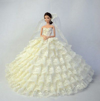 """PF 12/"""" Doll 1//6 Doll Fashion White Trailing Dress Clothing"""