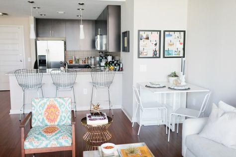 Colby Burlin S Atlanta Apartment Tour Apartments Folding Kitchen Table And Bar Stool