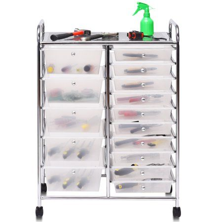 Topbuy Rolling 15 Drawer Organizer Cart Rolling Cart W Wheels Walmart Com In 2020 Organization Cart Rolling Storage Drawer Organisers
