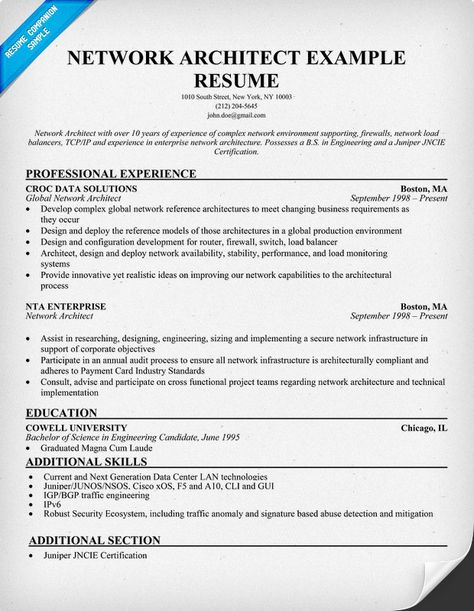 Network Architect Resume (resumecompanion) Resume Samples - data architect resume
