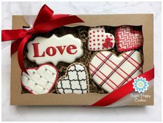 Sugar cookies, Valentine's Day set. royal icing, quilted cookie, quatrefoil, plaid