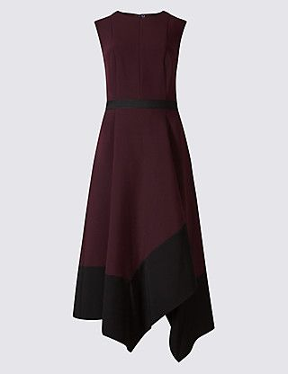 M&S Colour Block Asymmetric Midi Dress. Pinned by Amy of www.amysshop.co.uk on High Street Tango Finds.