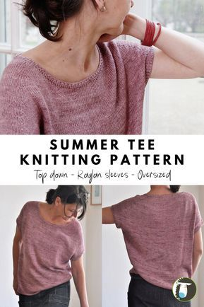 Summer Tee Knitting Patterns: This tee is knitting in-the-round from the top-dow. Summer Tee Knitting Patterns: This tee is knitting in-the-round from the top-down. It features an oversized fit and raglan Summer Tee Patte. Sweater Knitting Patterns, Knit Patterns, Free Knitting, Knitting Machine, Baby Cardigan, Baby Hut, Baby Baby, Summer Sweaters, Dk Weight Yarn