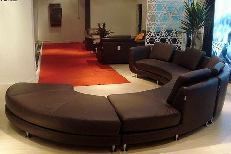 Roller Espresso Leather Sectional Round Sofa Furniture Leather