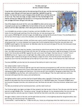The Little Match Girl - Christmas Reading Comprehension