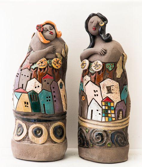 Sculpture ceramic art young girl-the girl of water-sculpture white enamelled glazed ceramics sculpture Keramik