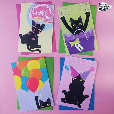 Funny Black Cat Birthday Celebration Cards Set Of 4 Funny Black