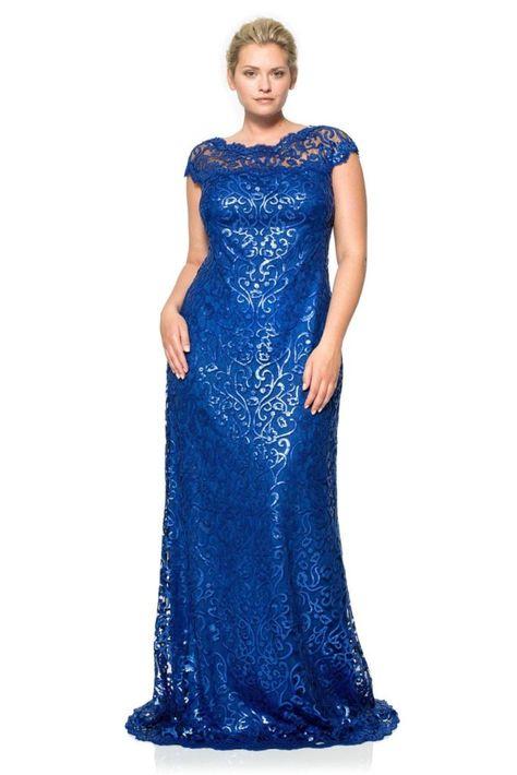 d6dee00bbe Vestidos de Renda Longo Plus Size Para Formatura Azul Marinho 3 ...