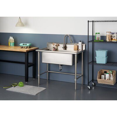 Trinity 32 X 16 Free Standing Utility Sink With Faucet With