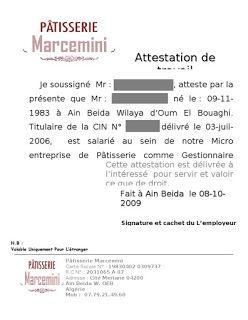 Attestation De Travail Maroc Exemple Attestation De