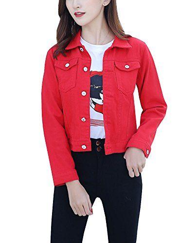 Damen Casual Jeansjacke Blouson Knopfverschluss Denim Jacket Jeans Jacke Rot L Mit Bildern Jeans Jacken Jacken Jeansjacke