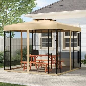 Polenza 8 Ft W X 8 Ft D Metal Patio Gazebo In 2020 Patio Gazebo Gazebo Patio