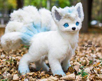 Silver Fox Stuffed Animal, Made To Order Handmade Posable Silver Fox Pup Fox Plush Etsy Fox Plush Cute Fantasy Creatures Pokemon