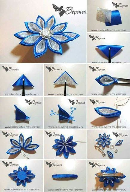 Best 12 Fabric Kanzashi Flowers are a beautiful interpretation of fabric origami. They are so simple to make and they typically are worn by women as hair ornaments.This Pin was discovered by Lau – Page 537335799290374866 – SkillOfKing. Diy Ribbon Flowers, Cloth Flowers, Kanzashi Flowers, Ribbon Art, Fabric Ribbon, Fabric Flowers, Satin Flowers, Ribbon Crafts, Silver Flowers