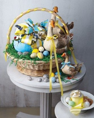 Easter basket full of duck figurines, butterflies and
