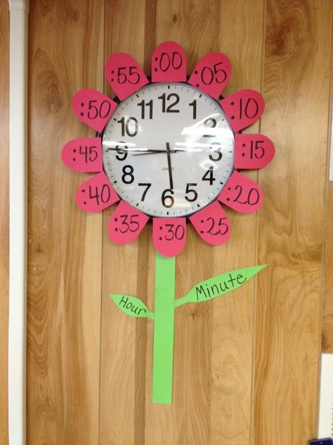 Flower clock teaching time telling Learn To Tell Time, Teaching Time, Homeschool Math, Homeschooling, Kids Education, Preschool Activities, Time Activities, Kids Learning, Clock Learning For Kids