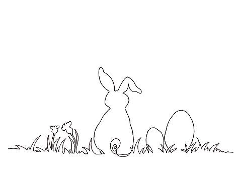 Continuous Line Drawing With Black Ink On White Paper Of A Cute Easter Bunny Sitting In The Grass With T Ostern Zeichnung Strichzeichnung Kunst Ostern Zeichnen