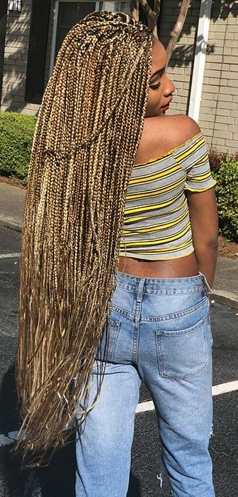 23 Best Long Box Braids Hairstyles And Ideas Page 2 Of 2 Stayglam Blonde Box Braids Box Braids Hairstyles Long Box Braids
