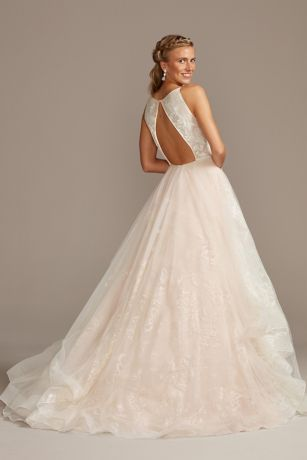 Glitter Floral And Tulle Layered Wedding Dress David S Bridal Layered Wedding Dresses Petite Wedding Dress Davids Bridal Wedding Dresses