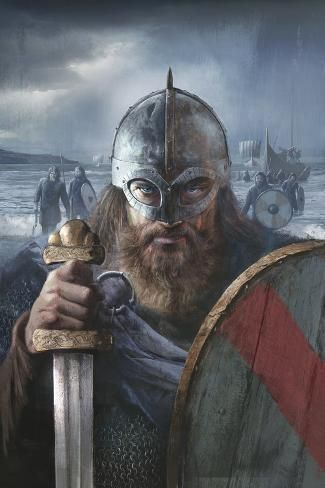 A Scandinavian Warrior Chief From The Late 10th Century Ready For Battle Art Print Fernando G B In 2020 Viking Art Viking Images Celtic Warriors