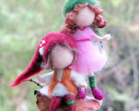 Christmas Winter Ornament Doll on a seed Needle felted | Etsy