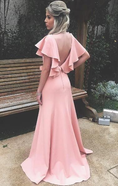 3fcf0154e V Neck Sheath Blush Pink Long Prom Dress Jersey Formal Evening Gown ...