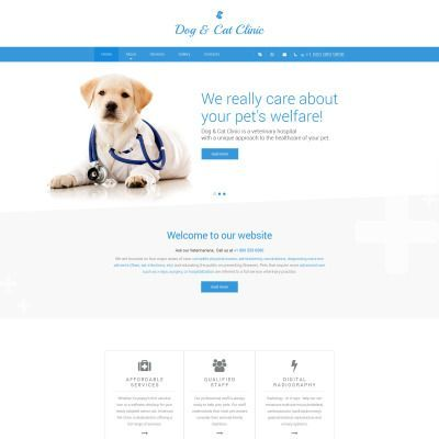 Dog Cat Clinic Website Template Website Template Pet Websites Bored Dog
