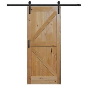 Mmi Door 42 In X 84 In Rustic Knotty Alder K Planked Prefinished Sliding Barn Door With Matte Black Hardware Kit Z0365619 In 2020 Barn Door Barn Door Designs Barn Style Sliding Doors