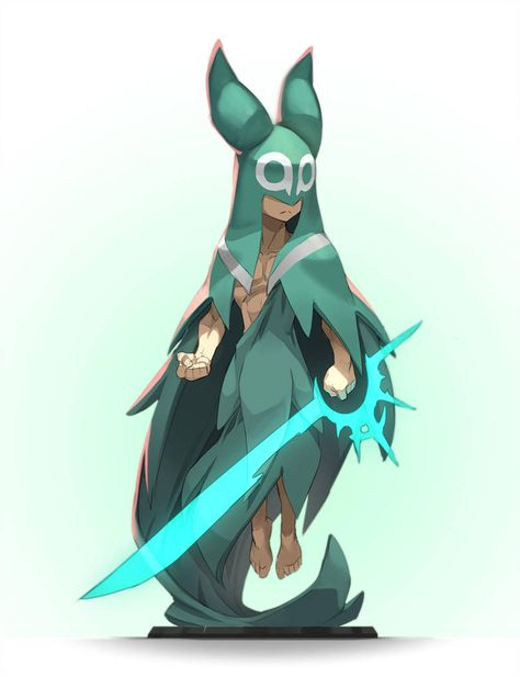Simple character design Inspiration is part of - Like the way the energy sword is manifesting and the pose, don't care for the costume tho
