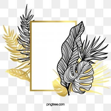Black Gold Tropical Plant Border Golden Plant Frame Png Transparent Clipart Image And Psd File For Free Download Paint Splash Background Graphic Design Background Templates Background Banner