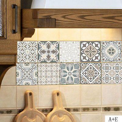 10pcs Mosaic Tile Wall Sticker PVC Waterproof Tiles Decals Kitchen Home Decor