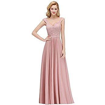 da5fcc5448841c Misshow Brautjungfernkleider Lang Abendkleider Elegant Für Hochzeit Prom  Dress Altrosa   kleider Brautjunfer   Prom dresses, Formal dresses und  Dresses