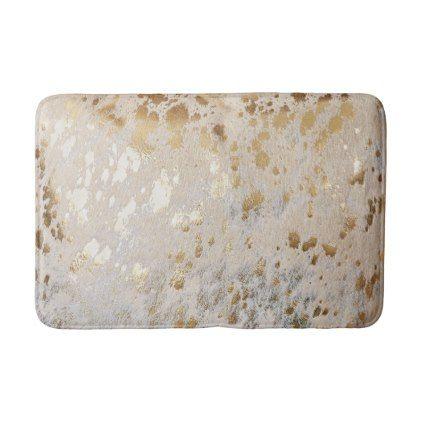 Gold Metallic Cowhide Print Luxurious Bath Mat Zazzle Com Luxury Bath Mats Cowhide Print Fabric Softner